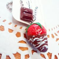 chocolate covered strawberry necklace by JL010203