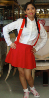 Me as a teenage 1950s bobby soxer girl in red by Magic-Kristina-KW