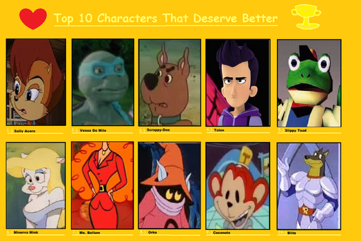 Top Ten Characters That Deserve Better 1 by mewmewspike