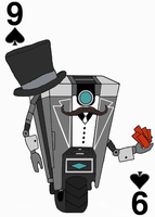Gentleman Claptrap on the Nine of Spades by JenniBee