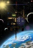 'Twin-Sun' Space Station - Concept Sketch by Sly-Mk3