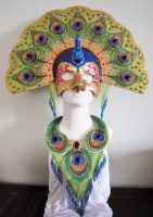 Bead embroidery necklace and mask by Priscillascreations