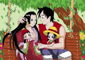 Luffy and hancock with babys by xcelestialangelx