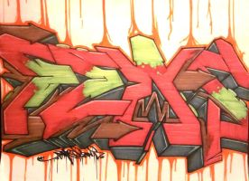 Fews Piece -green,red,brown graffiti by Cypher-Black
