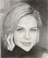 Pencil portrait of Charlize Theron by chaseroflight