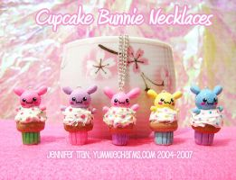 Cupcake Bunnie Necklaces by xlilbabydragonx