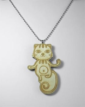 Hello Cat Wooden Charm Pendant by Papacan