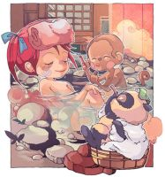 Steaming Onsen by Laumii