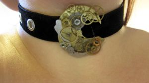 Steampunk holey choker II by Gothic-Enchantress