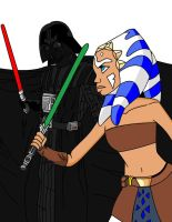 ahsoka vs darth vader by crowshot27