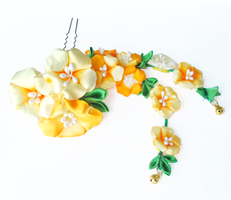 Handdyed Yellow Morning Glory Asagao Kanzashi by hanatsukuri