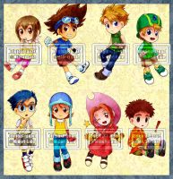 Digimon Adventure keychan chibis by MidoriGale