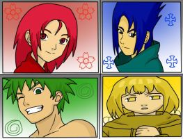 4 anime characters in naruto s style by Makushi23