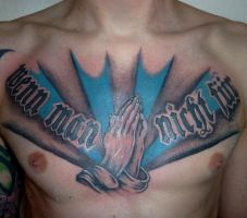 praying hands chest tattoo by D3adFrog