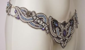 Bridal bead embroidery belt by Priscillascreations
