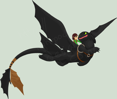 Toothless+Hiccup by llimus