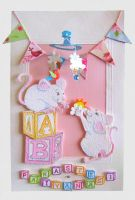 Mice Christening card by Coccis