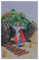 Power Girl knocks out tank by svettzwo