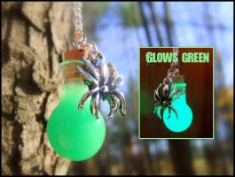 Widow's Venom Glass Vial Necklace - Glows Green by Euphyley