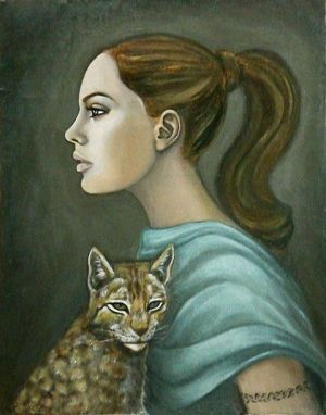 Girl with a cat by Hevonie