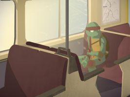 turtle on a train by gillespie-art