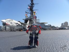 Optimus on the USS Midway by Letohatchee