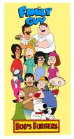 Bob's Burgers and Family Guy by Callmechrist