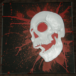 White Skull Relief Painting by Dizzidragonz