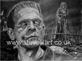 Boris Karloff, The Monster by stevelilart