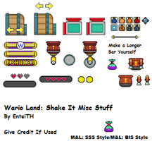 SMB3/Custom Wario Land Shake It Misc Sprites by EnteiTheHedgehog