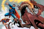 Superman vs Dragon by scariello