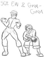 Sgt. Ew and Gran Gran by CharonTheSabercat