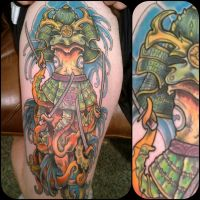 Samurai Squid Tattoo by dmillustration