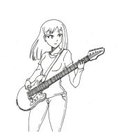 Guitar sketch girl by thedybre