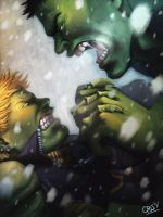 Hulkling vs Hulk by Cris-Art