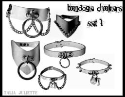 Bondage Chokers Set One by TheTaliaMonster