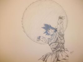 goku and his spirit bomb by vegeta-goku
