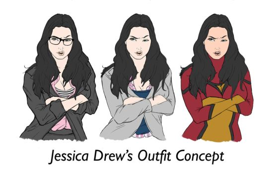 Outfit Concepts for Jessica Drew by togigata