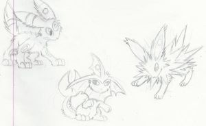 Keychain Doodles: Eeveelutions by SoftMonKeychains