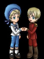 Latvia and Sealand dolls by Pikangie