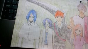 Uryu, Ken, Ichigo, Orihime and Chad by MIRACLESVEEMON