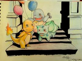 The First Gen Starters Going to a Party by MagicFlyingBunnies