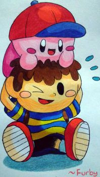 Kirby and Ness being cute c: by FurbyTehGamer