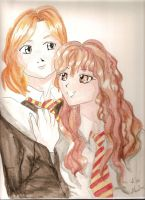 Ron and Hermione by Yunamorena