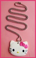 Hot Pink Bow Kitty Necklace by cherryboop