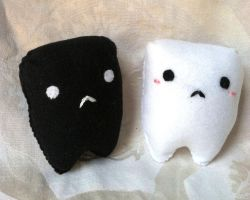 White and Black Tooth Plushes by PinkChocolate14