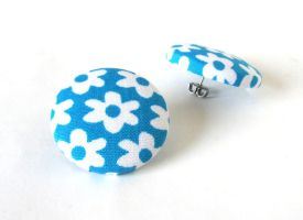 Big blue button earrings studs turquoise teal by KooKooCraft