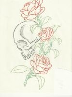 Skull and Roses by wolf-lover884