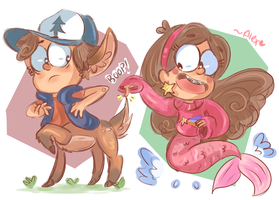 Deerpper and Mermabel by chibiirose