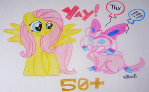 Fluttershy and Sylveon - 50+Watchers Special by TvenSnake